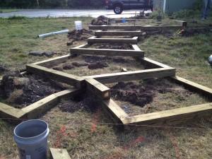 Timber Steps Installation Booker's Backyard Lansing, NY