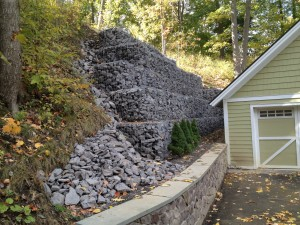 Completed Gabion Basket Retaining Wall - Trumansburg, NY