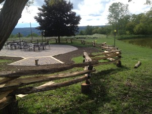 Lansing, NY - Locust Split Rail Fence - Paver patio in the background