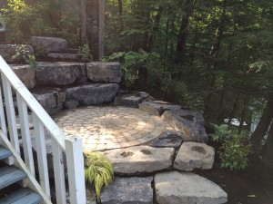 Interlaken, NY - Paver Patio with Landscape Boulder Seat Wall