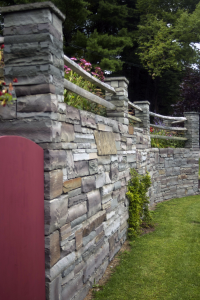 Spencer, NY - Natural Stone Block Retaining Wall with Split Rail Incorporated